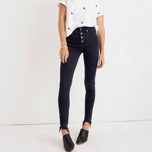 "Madewell 9"" High Rise black Skinny Jeans buttons"